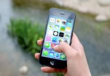 Vista de un iPhone y apps